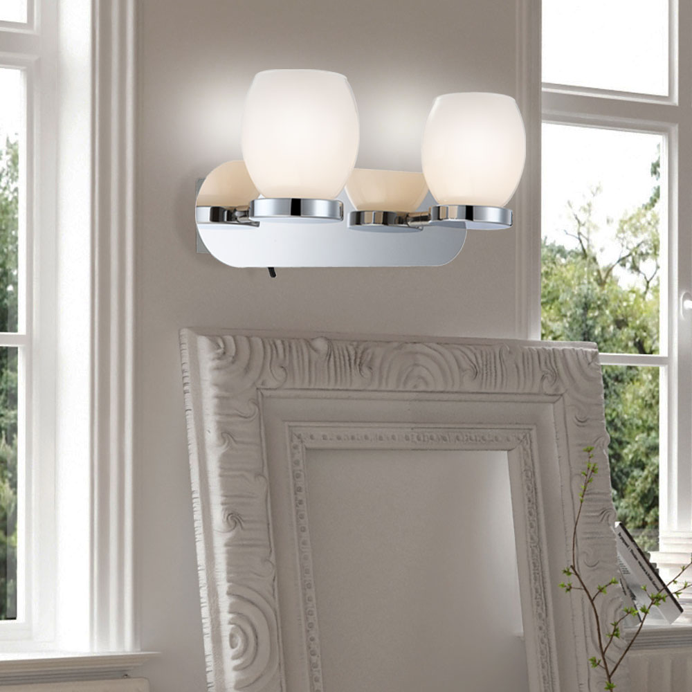 led lampe schalter silber k che glas beleuchtung 6w wand flur b ro lampe chrom ebay. Black Bedroom Furniture Sets. Home Design Ideas