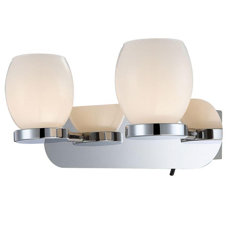 6 watt LED wall light 2-burner glass opal lamp chrome IP44 Globo 44200-2 – Bild 1