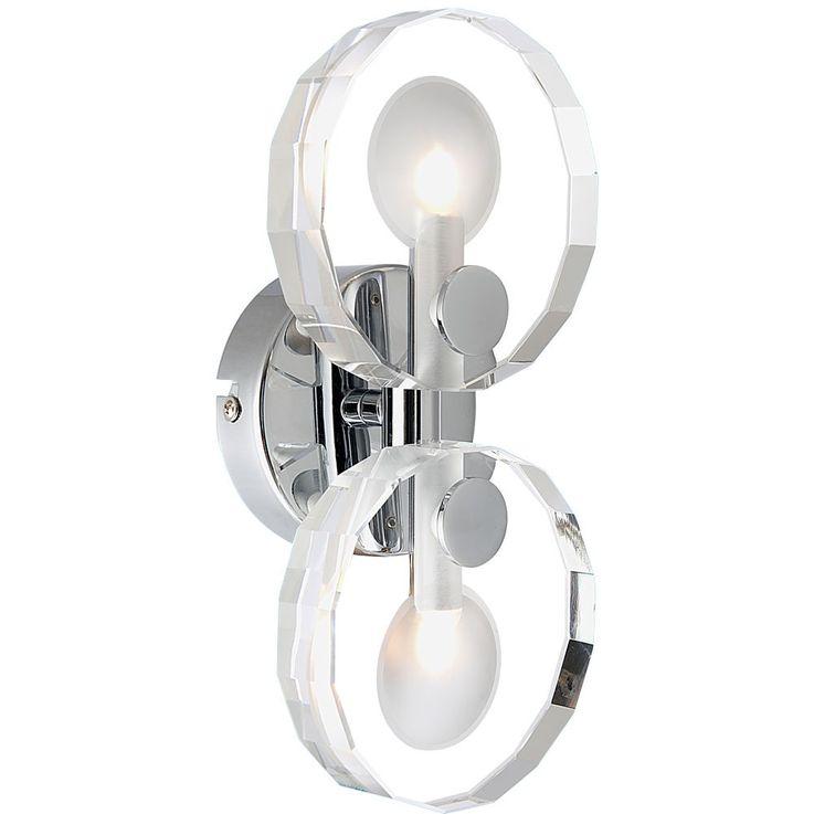 Wall chrome dining room crystal glass lamp lighting 2-flg lobby Globo WHEEL 41538-2 – Bild 1