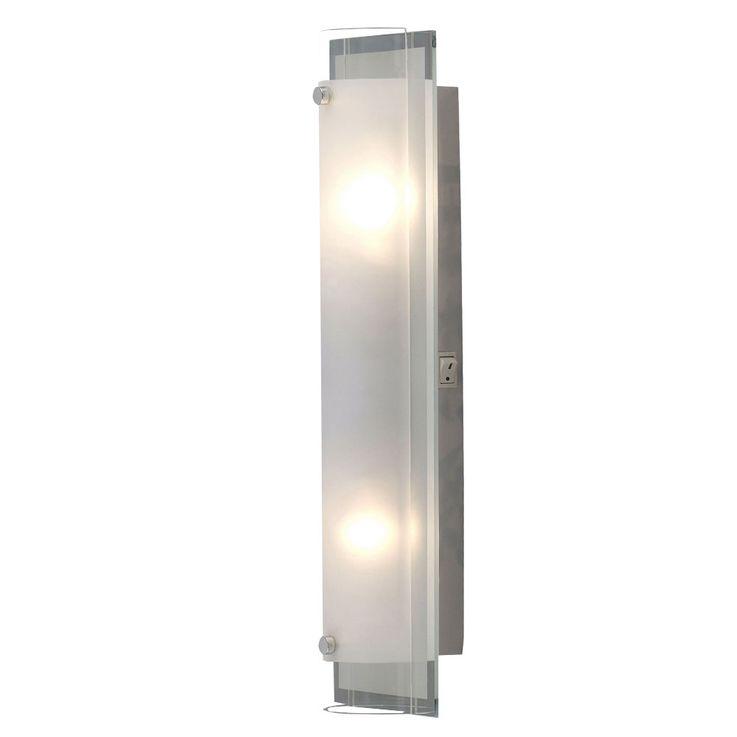 Chrom Wand Leuchte Glas satiniert Spiegel Rand Beleuchtung 2 flammig Beleuchtung Globo 48510-2 – Bild 1