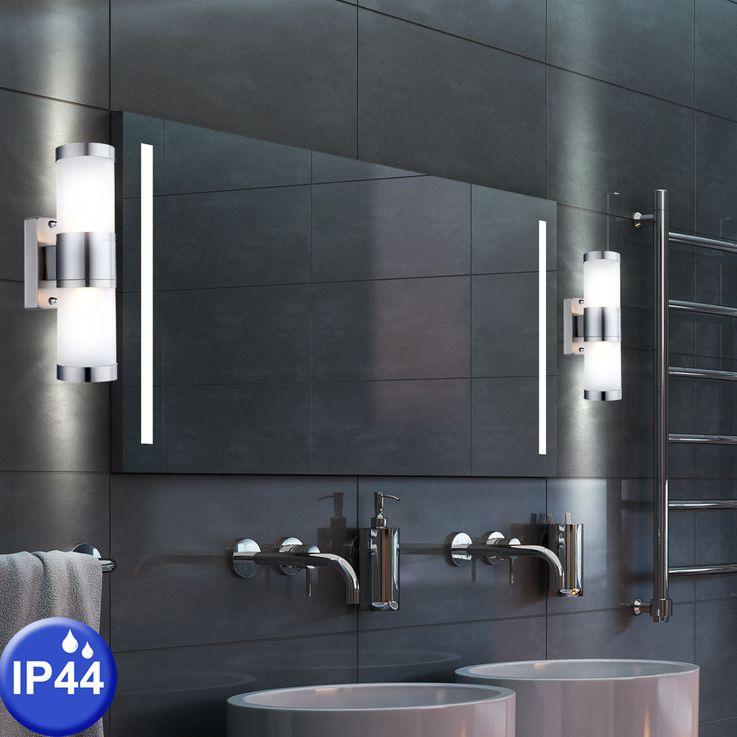 Verre extérieur mur lumière, éclairage, lumière de miroir de salle de bain en acier inox satiné Globo 3136-2 – Bild 2