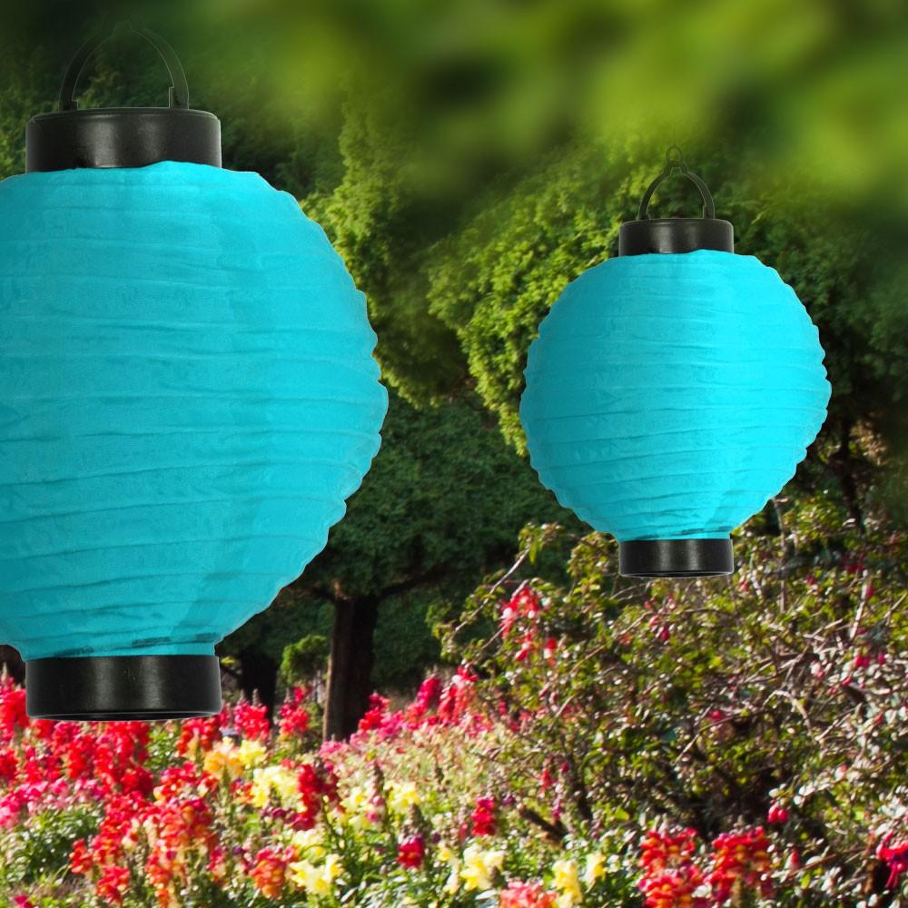 solar-led-lampion aus polyester in blau mit weißer led lampen, Gartengerate ideen
