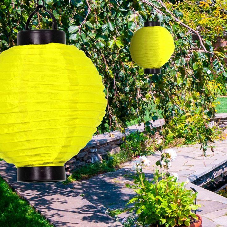 LED rund gelb Solar Lampion Akku Fenster Garten Terrasse Balkon Feier Event  – Bild 2