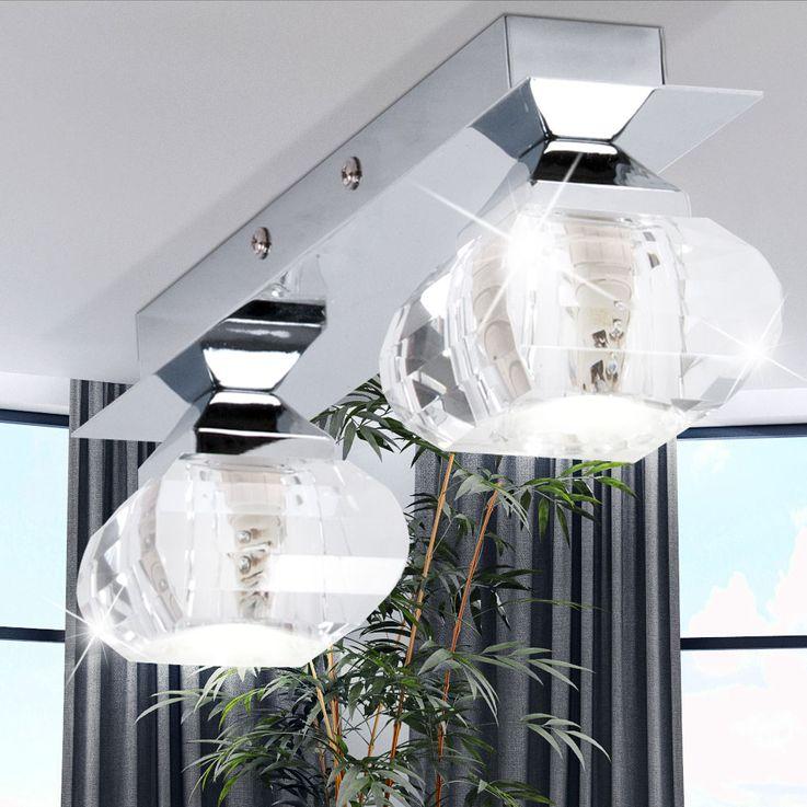 Lampes design plafonnier en verre chromé éclairage de salle à manger 2  -flg G9 Brilliant – Bild 3