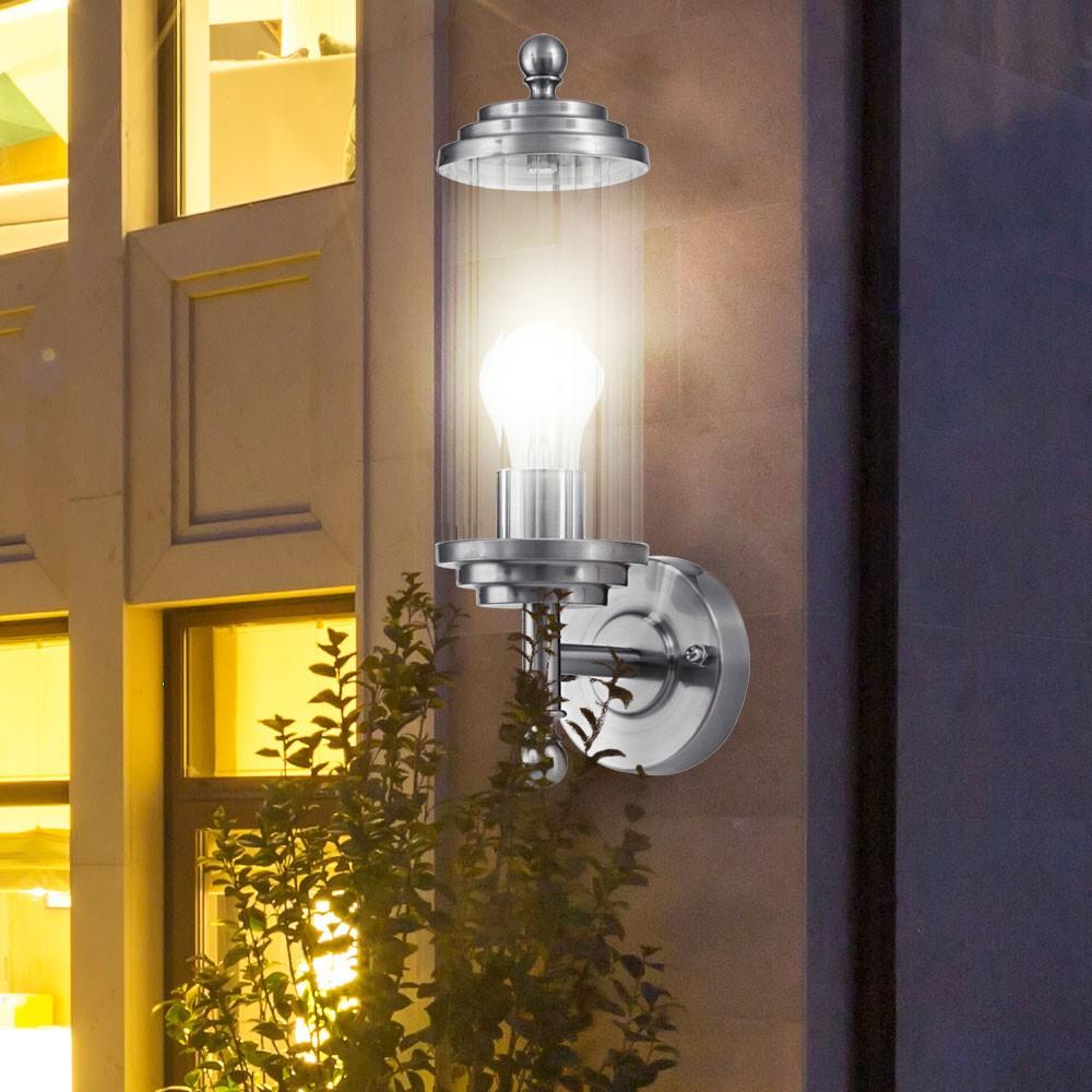elegante wandleuchte aus glas und edelstahl lampen m bel au enleuchten wandbeleuchtung laternen. Black Bedroom Furniture Sets. Home Design Ideas