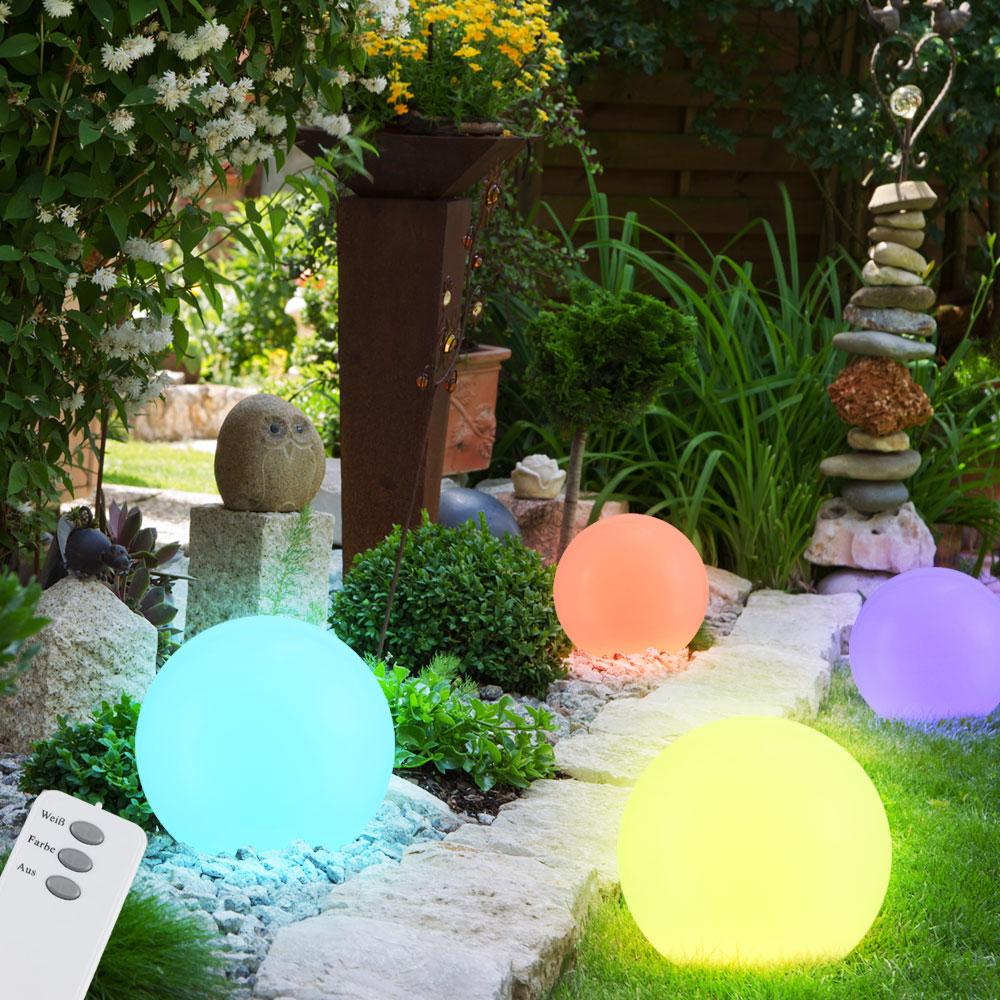 4er set led kugel solarlampen mit farbwechsler unsichtbar lampen m bel au enleuchten steckleuchten. Black Bedroom Furniture Sets. Home Design Ideas