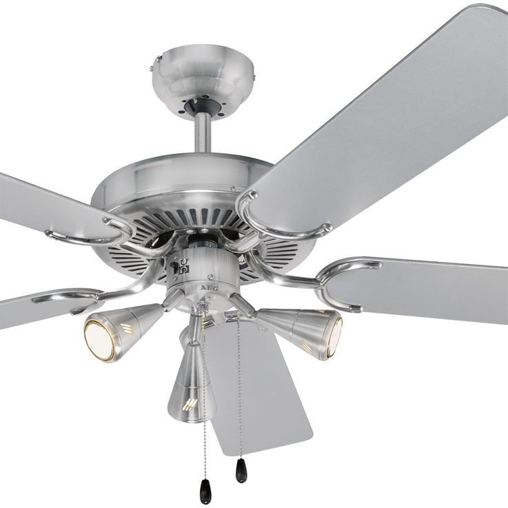 Design 5-leaf ceiling fan air cooling lighting stainless steel 60 Watt D-VL 5667 AEG – Bild 8