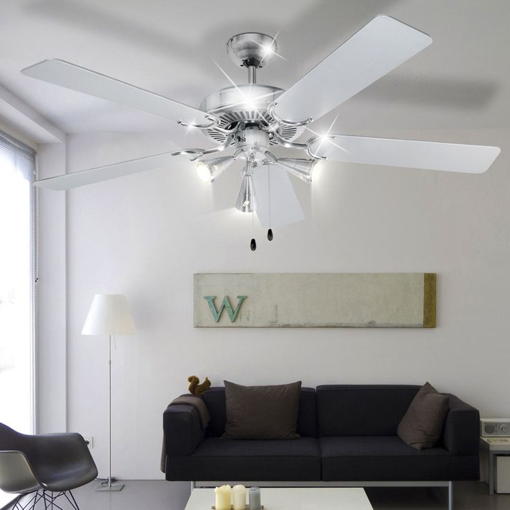 Design 5-leaf ceiling fan air cooling lighting stainless steel 60 Watt D-VL 5667 AEG – Bild 5
