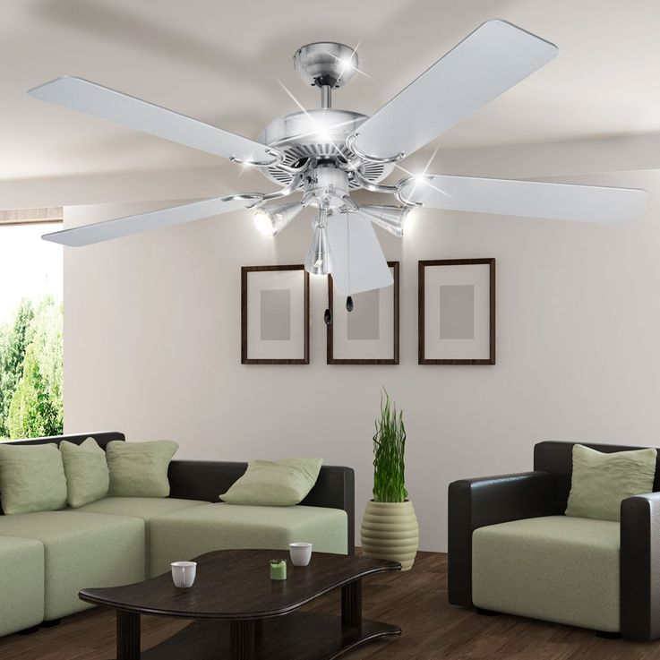 Design 5-leaf ceiling fan air cooling lighting stainless steel 60 Watt D-VL 5667 AEG – Bild 3