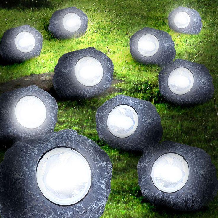 10er Set LED Solar Leuchten Steine Beleuchtung Garten Dekoration Lampen Außenlichter – Bild 6
