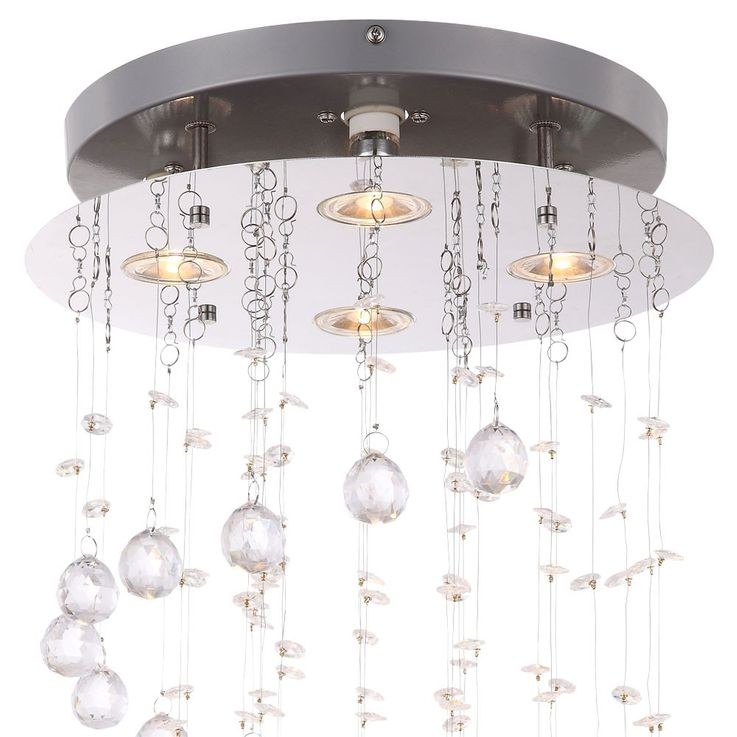 LED 20 Watt ceiling lights bed and breakfast chrome lamp round acrylic crystals Globo 68595-4 – Bild 5