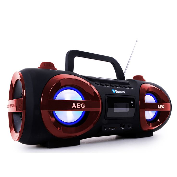 Chaîne hi-fi ghettoblaster CD MP3 lecteur USB bluetooth SD AEG SR 4359 BT rouge – Bild 1