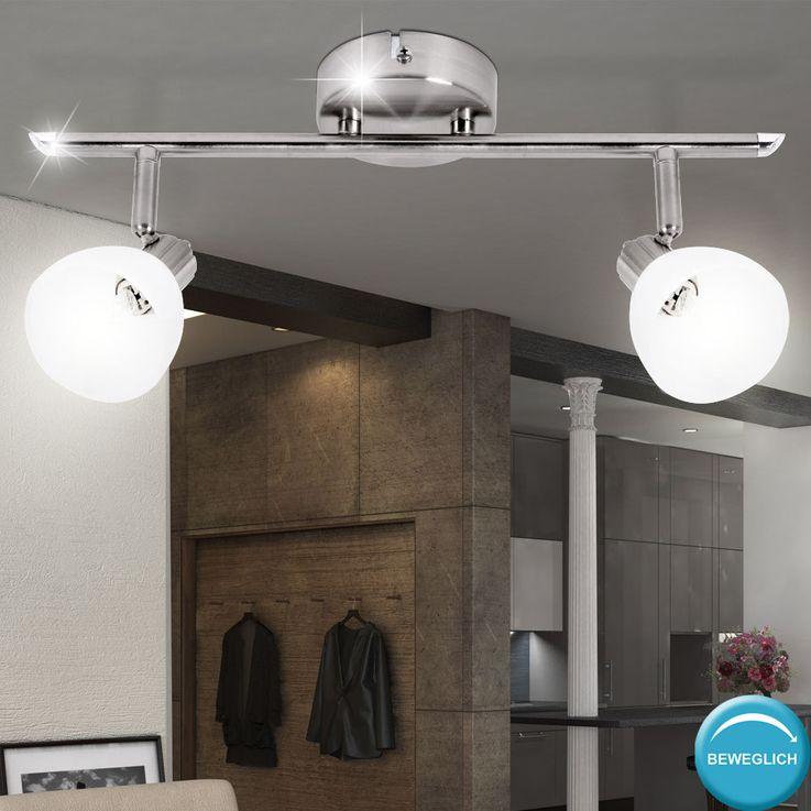 Plafonnier luminaire plafond éclairage métal verre spots mobiles verre blanc salle de séjour – Bild 2