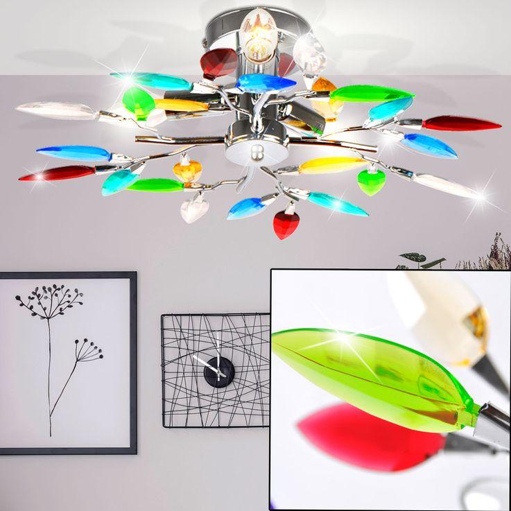Deckenleuchte mit bunten Acrylblättern und Chrom – Bild 3