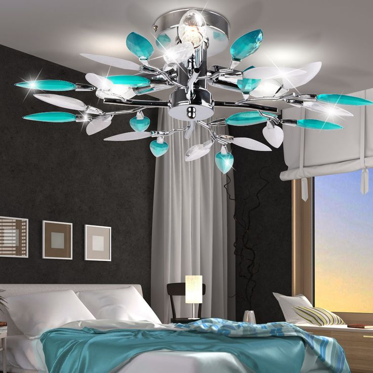 Design ceiling lamp leaves blossoms turquoise dining room chrome lamp version 3 x E14 – Bild 3