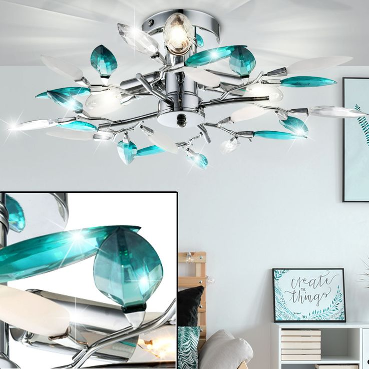 Design ceiling light leaves flowers turquoise dining room chrome lamp  Globo 63181-3 – Bild 2