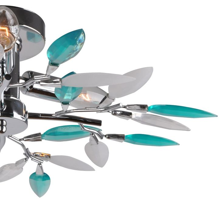 Design ceiling lamp leaves blossoms turquoise dining room chrome lamp version 3 x E14 – Bild 9