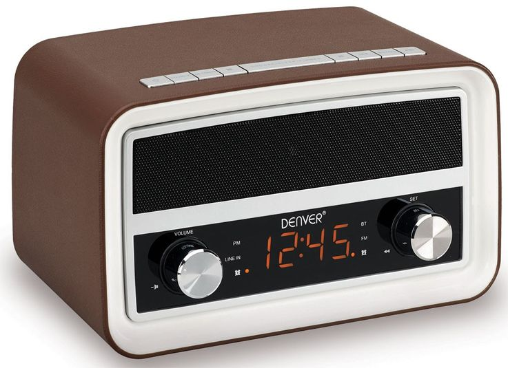 "Bluetooth Nostalgie radio in dark brown with 0,6"" display and alarm function CRB-619 – Bild 1"