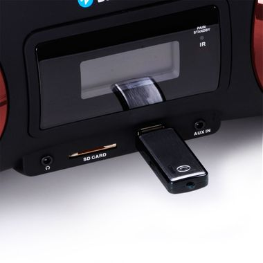 Stereo system boombox CD MP3 player Bluetooth USB SD AEG red + headphones – Bild 5