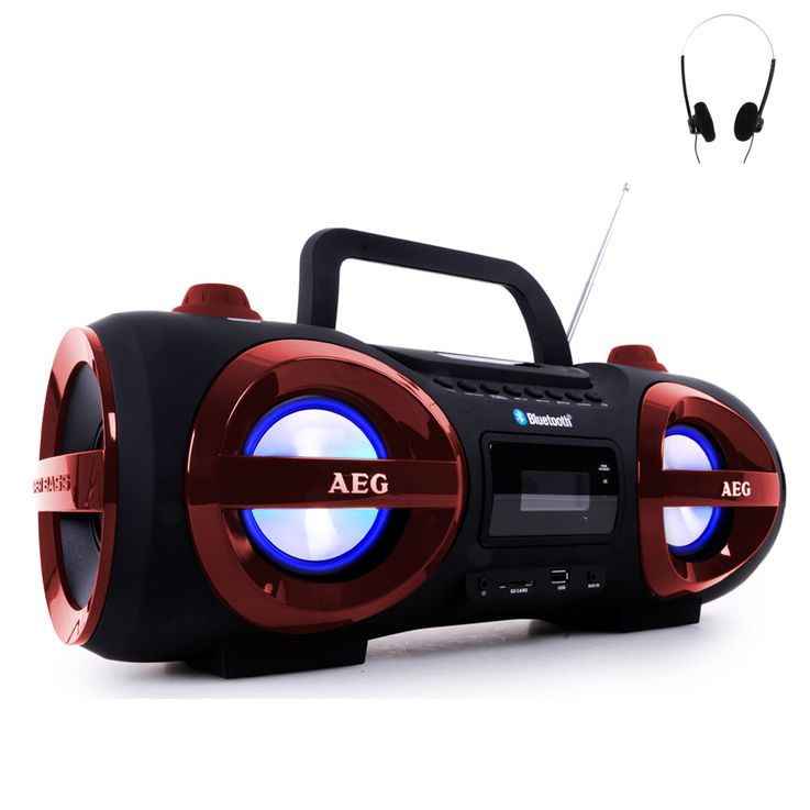 Stereoanlage Ghettoblaster CD MP3 Player Bluetooth USB SD AEG rot + Kopfhörer – Bild 1