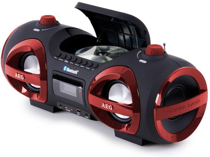 Stereoanlage Ghettoblaster CD MP3 Player Bluetooth USB SD AEG rot + Kopfhörer – Bild 3