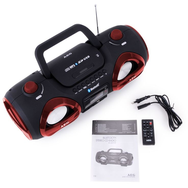 Stereo system boombox CD MP3 player Bluetooth USB SD AEG red + headphones – Bild 9