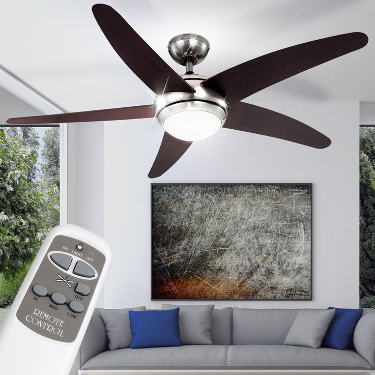 Design LED Decken Ventilator mit Beleuchtung 20 Watt Lüfter Windmaschine 0306 LED Fabiola – Bild 3