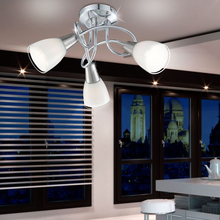 Modern LED ceiling lights in round design of chromium and nickel – Bild 2