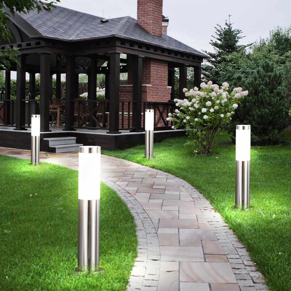 2 x lampadaire luminaire jardin terrasse chemin inox clairage espace ext rieur ebay. Black Bedroom Furniture Sets. Home Design Ideas