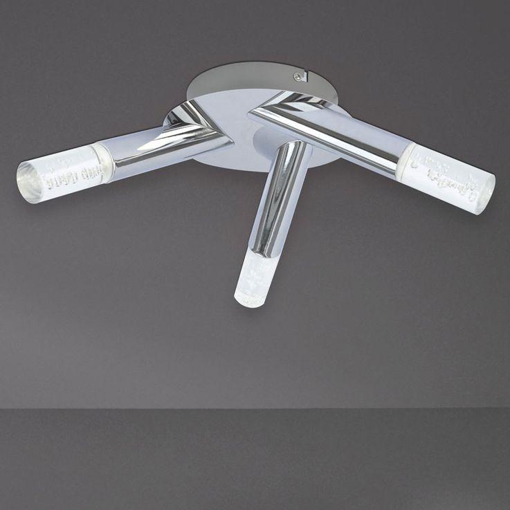 Plafonnier LED luminaire plafond éclairage lampe DEL chrome métal salle de séjour chambre – Bild 5