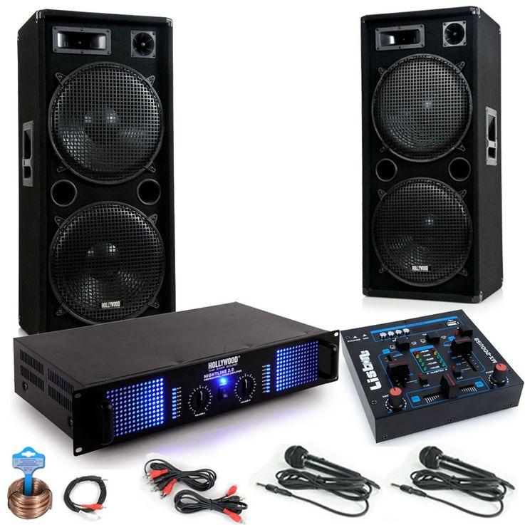 Chaîne hi-fi 3000W PA musique système haut-parleurs amplificateur table de mixage microphones – Bild 1