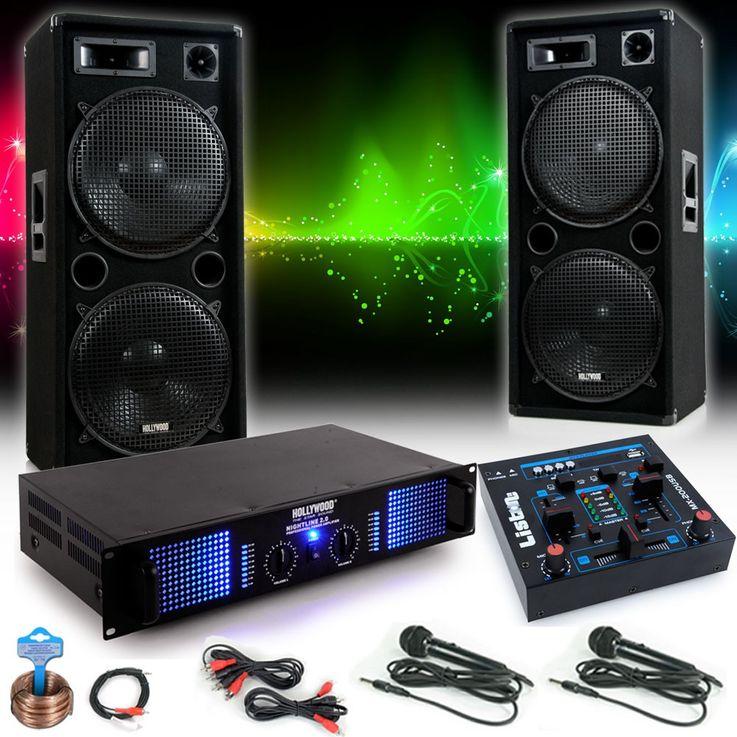 Chaîne hi-fi 3000W PA musique système haut-parleurs amplificateur table de mixage microphones – Bild 2