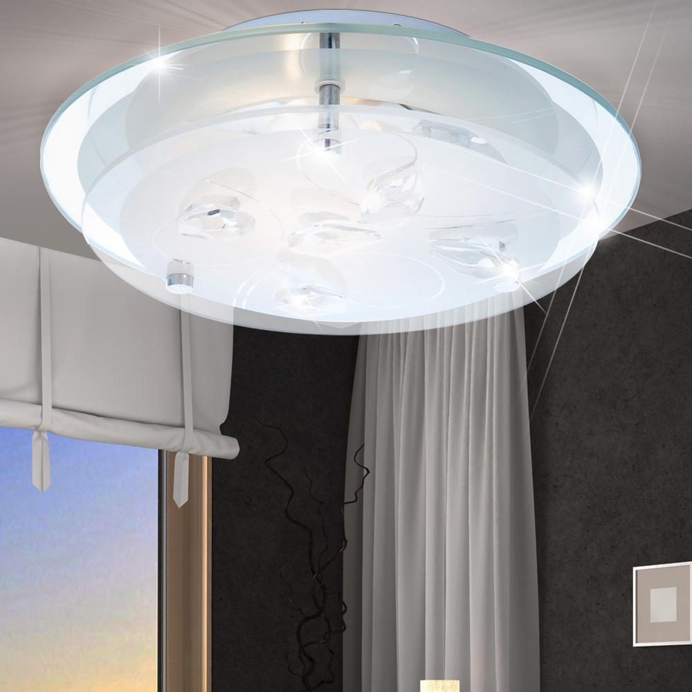 elegante rgb led deckenleuchte mit klaren kristallen. Black Bedroom Furniture Sets. Home Design Ideas
