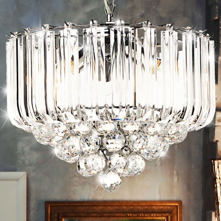 Hanging light acrylic crystal clear E14 ceiling lighting dining room pendant lamp – Bild 4
