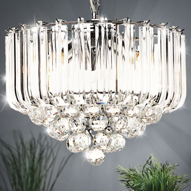 Hanging light acrylic crystal clear E14 ceiling lighting dining room pendant lamp – Bild 2