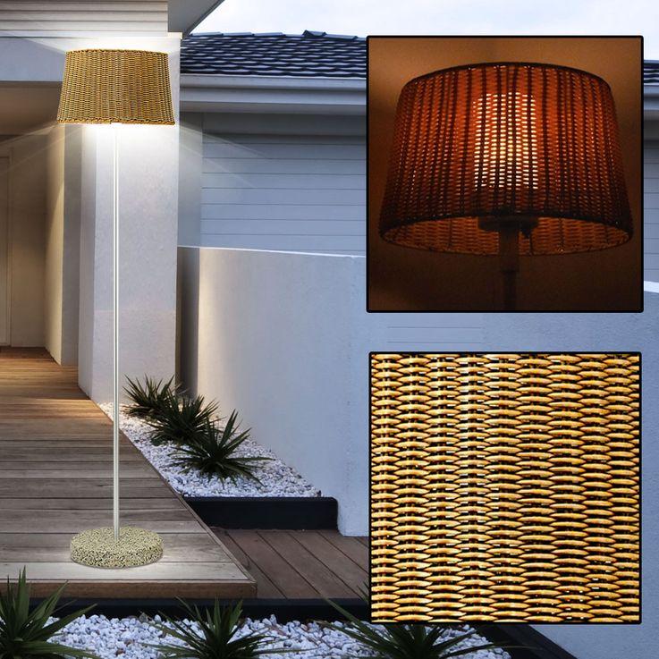 Steh Leuchte Außen Korbgeflecht Design Beleuchtung Marmor Sockel Glas Balkon Lampe Eglo 88083 – Bild 3