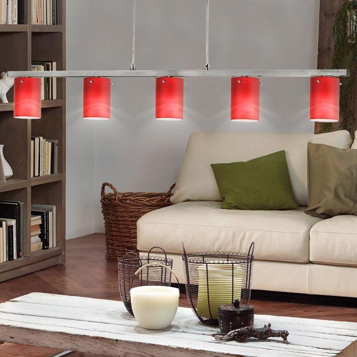 Suspension lampe verre chrome rouge crème salon G9 éclairage 5 feux Eglo 88547 robe – Bild 9