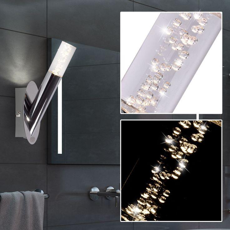 LED Design Wand Strahler Luft Blasen Stab Leuchte Wohn Zimmer Chrom Lampe WOFI 4193.01.01.0044 – Bild 2