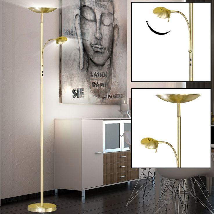 LED Luxus Steh Lampe 23 Watt Flexo Stand Leuchte Messing Decken Fluter Action 374602320000 – Bild 2