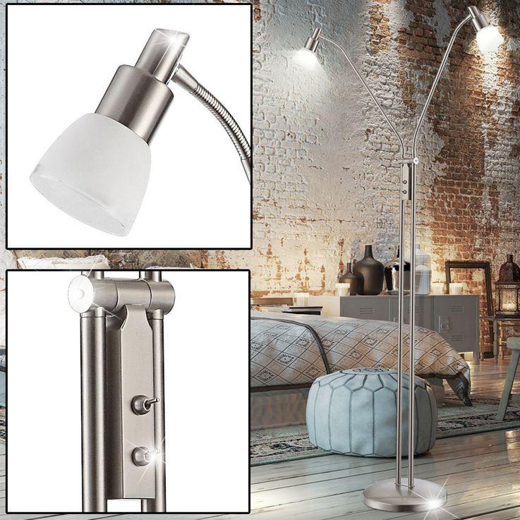 Lampadaire DEL 10 watts 2 spots lampe lecture flexo luminaire salle de séjour – Bild 2