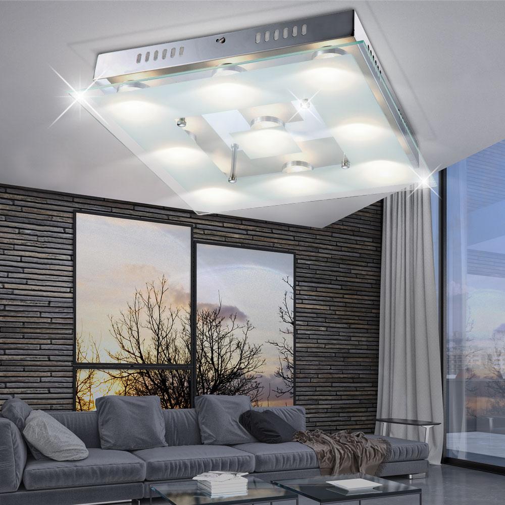 design led decken leuchte wohnzimmer chrom beleuchtung glas lampe satiniert wofi ebay. Black Bedroom Furniture Sets. Home Design Ideas
