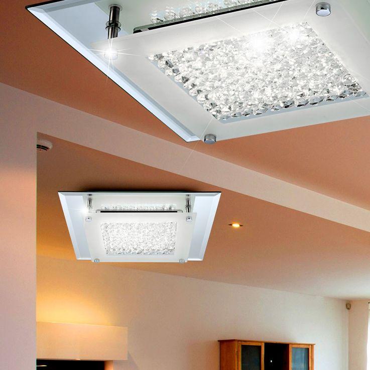 Plafonnier LED 17 Watts luminaire plafond verre cristaux éclairage salle de séjour – Bild 4