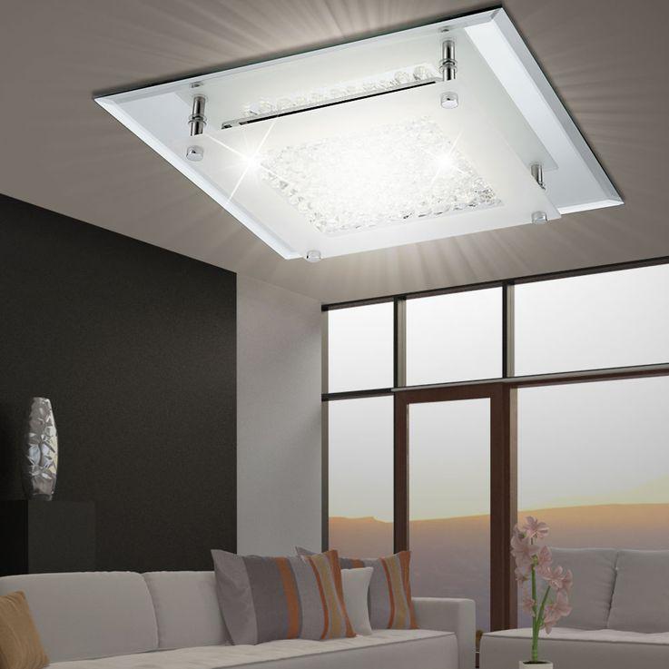Plafonnier LED 17 Watts luminaire plafond verre cristaux éclairage salle de séjour – Bild 3