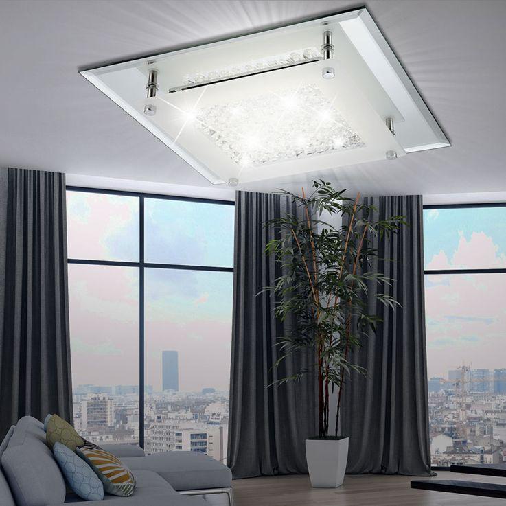 Elegante LED Deckenleuchte mit Glaskristallen – Bild 2