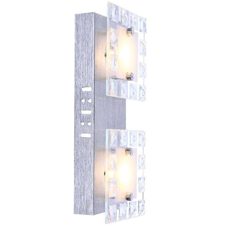 Elegante LED Wandleuchte aus Glas mit klaren Kristallen – Bild 1