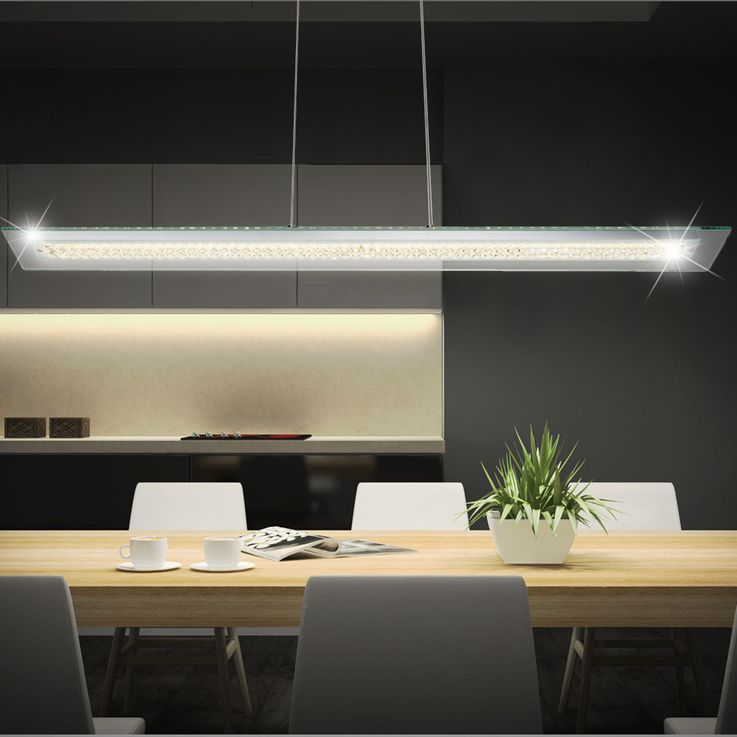 LED pendant lamp modern chrome and glass – Bild 2