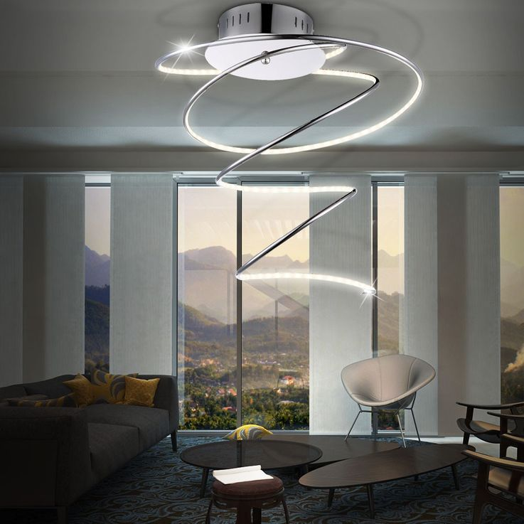 LED 19 Watt ceiling light acrylic lamp chrome lighting ring Globo 67814D REBEL – Bild 4