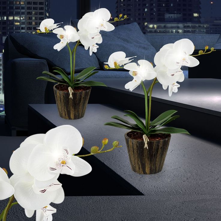 LED orchid flower pot table lamp with white flowers leaves art plant Globo 28002 – Bild 3