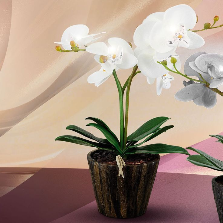 LED orchid flower pot table lamp with white flowers leaves art plant Globo 28002 – Bild 4