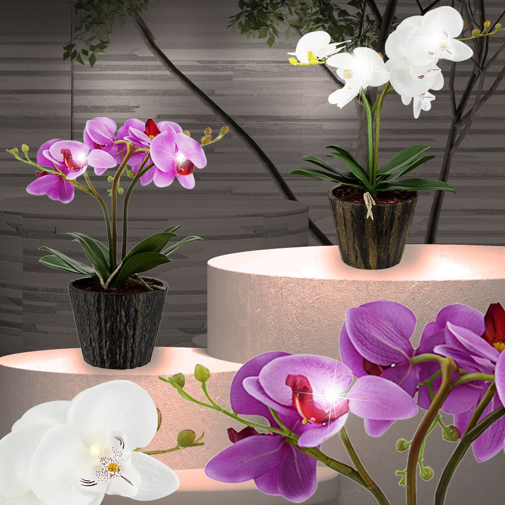 kunstblume 7x led orchidee blumentopf deko pflanze k che tisch leuchte bl te ebay. Black Bedroom Furniture Sets. Home Design Ideas